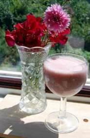 yogurt drink made with fresh raspberries