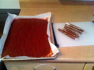 fruit leather in tray