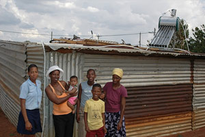 solar thermal heating on a roof in Africa