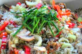 brown rice salad with mushrooms and chives
