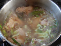 chicken soup - add the chicken and water