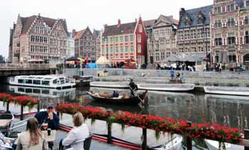 Canal side in Ghent, Belgium