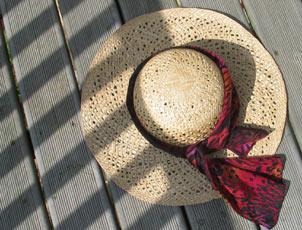 straw sunhat in half shade