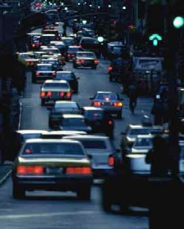 hybrid car advantages - traffic jams cause pollution