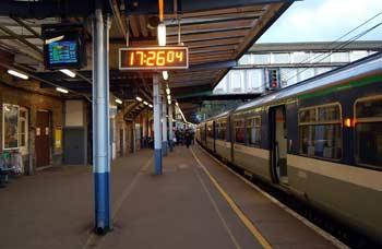 train platform at dusk