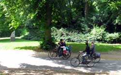 cyclists in a park in Groningen