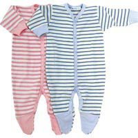 striped footie baby grow from Our Green House