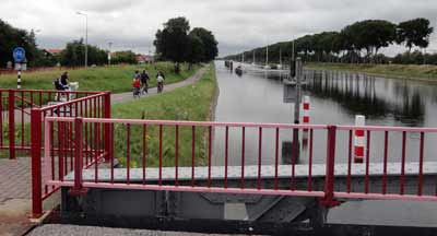 Canal and bike path in northern Belgium