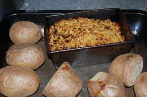 nut roast with jacket potatoes