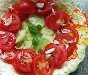 tomato salad with cucumber and basil