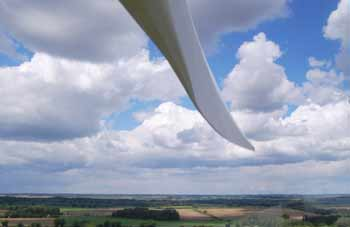 wind turbine blade from behind blade